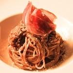 フェリア トウキョウ - ポルチーニ茸のラグーのスパゲッティ・ハモンイベリコ