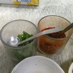 焼肉のあじまる - ネギと唐辛子、ポン酢でタレをつくります。