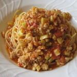 パルゴロ - パスタ スパゲッティーニ、魚介とマコモダケのラグーソース、サフラン風味