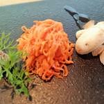 44019067 - 前菜:マッシュルーム、ニンジンラぺ(カシューナッツ&レーズン)、赤牛とイベリコ豚のパテ