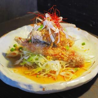 生姜料理 しょうが - 料理写真:新さんま竜田揚げ 生姜ゆずネギソース
