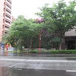 博多とんこつ白龍 - ホテル『WITH THE STYLE 福岡』の隣の道沿いにあります。駐車場はホテル向かいのコインパーキングを利用。