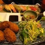 柿の葉ずし ヤマト - 牡蠣フライにぎり御膳