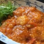 栄康園 - プリプリ海老のチリソース煮込み