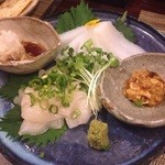 酒縁蕎亭 渉の盃 - マンボウの肝味噌 赤イカの刺身    マンボウはホタテの様な食感で肝味噌とグーッドです!赤イカはこの分厚さでこの柔らかさ!うまし!