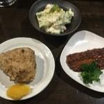 44090708 - 秋刀魚の蒲焼、ポテサラ、焼きおにぎり