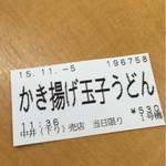 中井食堂 中井パーキングエリア(PA)下り線 - 食券