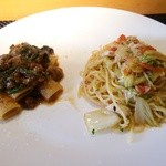 44118041 - パスタは、ズワイガニと白菜のペペロンチーノ(スパゲッティーニ)、和牛と春菊のラグー(リガトーニ)の2種類。