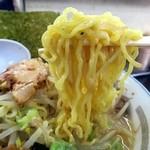 44136179 - 黄色い中太の縮れ麺がスープをよく絡めてきます