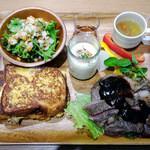 44146696 - お食事セットメニュー,栗原漢方和牛イチボ肉のグリル