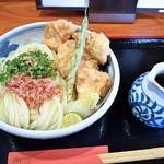 松山 力みなぎる完全無欠うどん 空太郎 - 鶏天ぶっかけ冷とぶっかけ出汁