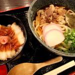 お食事処 大和屋 - 肉うどんセット(肉うどん・ミニ穴子めし)