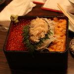 日野亭 - 三色丼(ウニ・あわび・いくら)