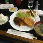 ぱいち - ランチB定食(ハンバーグ&キスフライ、カニサラダ付き)1100円なり(^∇^)