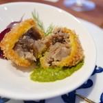 天草 天空の船 - [夕食]熊本あか牛のコロッケはコロッケというよりメンチのように肉だらけ。