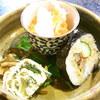 へんみ  - 料理写真:つきだし 蟹身と山芋とイクラ 巻寿司 青菜入玉子焼き☆♪