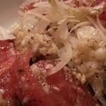 アホアホ  - トマトとオニオンのサラダ これはニンニクの味わいが良い 2015.11