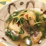 44182920 - 季節の炊き合わせ:メダイ、海老芋、春菊のあんかけ