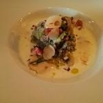 バルバ ビアンカ - ランチの前菜 温かいマッシュルームのサラダ そのスープとともに