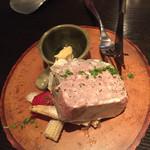44205904 - お肉のテリーヌ。好みでマスタードを。付け合わせはピクルス。
