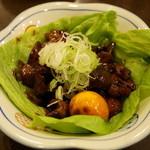 奈良田本店 - 鳥もつ甘辛煮(572円)