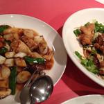中国新派料理 天安 - 帆立貝柱の紅花炒め/油淋子鶏