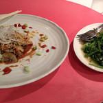 中国新派料理 天安 - 赤西貝と葱の和え物/空芯菜と乾海老の塩炒め