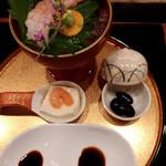 44212025 - 甘海老豆腐・黒大豆煮と甘海老のお造り、二種類のお醤油で