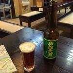 44223588 - 角館麦酒(田沢湖ビール)と比内地鶏串焼き