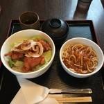 ますき神明店 みむら - よくばりランチ(チキン唐揚げ丼+ミートソーススパゲッティー)