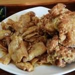 七フクロウ - コンビ定食の「しょうが焼き&若鶏の唐揚げ」