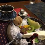 我留慕 - 夕膳セット♬(夕膳+ケーキ&フルーツ+コーヒー)