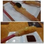 糀ナチュレ - ◆海老・あおさ海苔のせ・・足部分もカラッと揚がり美味しい品。 ◆葉生姜・・これ美味しいですよ。生姜の風味がいいですね・