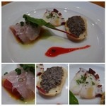 糀ナチュレ - ◆アミューズ・・鯛のカルパッチョ・バケット+キノコペースト・蛸。 どれも優しい味わいで普通に美味しい。