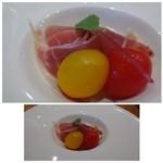 糀ナチュレ - ◆前菜1・・無花果 水切りヨーグルトソース、生ハムのサラダ仕立て。 生ハムは塩気もよく美味しいかったですよ。