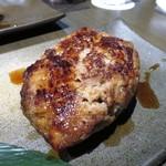 喰心-meat Dining- - 仙台牛のA4ステーキとハンバーグ  ひも茄子、万願寺唐辛子  竹炭塩