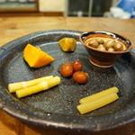 郷土料理 みかど - 先付、素朴な飛騨の野菜、山菜がいっぱい(2015.11.6)