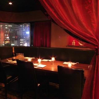 ◆宴会・女子会・記念日に◆夜景の見えるカーテン個室