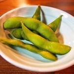 串かつ 千里 - 付き出しの枝豆