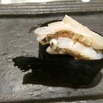 44275276 - 太刀魚。皮を炙って塩粒がふられている