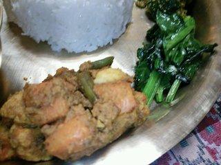 ストゥーパ - 野菜のタルカリと小松菜炒め