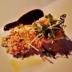 O・mo・ya - 『秋鮭と大根のミルフィーユ・クスクスのサラダ』!!軟らかい秋鮭の間に大根がサンドされて、シャキシャキっとした食感~♪(^o^)丿