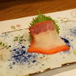 どおぞの - 珍味三種(おばけ、鯨ベーコン、げんかいづけ)