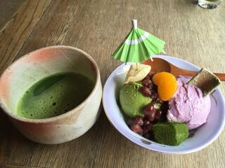 eX cafe 京都嵐山本店 - 千年の恋パフェセット(税抜き1,200円)