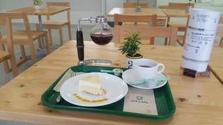 """タカオ 599カフェ - 「""""みるくの黄金律""""フロマージュケーキのセット (650円)」 +100円で珈琲をサイフォンに♪"""