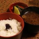 44311933 - 牛鍋御膳のご飯と味噌汁