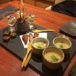 魚匠 銀平 - 鯛飯コース ¥7560 前菜四種