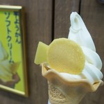舟和 - 芋ようかんソフトクリーム(350円)
