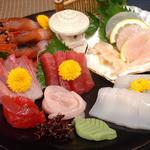 地酒と宮城のうまいもん処 斎太郎 - お造り5点盛りは宮城の美味しいお刺身が盛りだくさん!