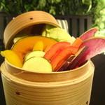 ジンジャーガーデンアオヤマ - 秋野菜のせいろ蒸し ジンジャー胡麻ソース